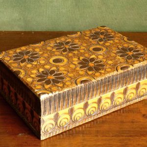 Carved Brown and Orange Wooden Box