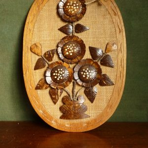 Carved Coconut Wood Oval Wall Plaque