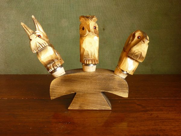 Owl and Dogs Bottle Stoppers and Stand