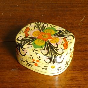 Papier mache box with birds and flowers