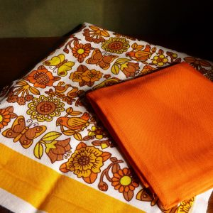 Orange and Brown Floral Tablecloth
