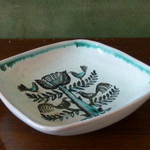 Meister handpainted birds and tree dish