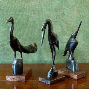 set of three carved birds