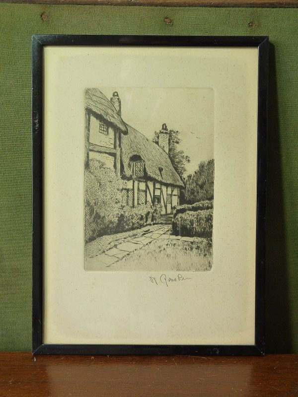 """Framed Limited Edition Signed Artist's Proof of Anne Hathaway's Cottage, by William """"Willie"""" Rawson"""