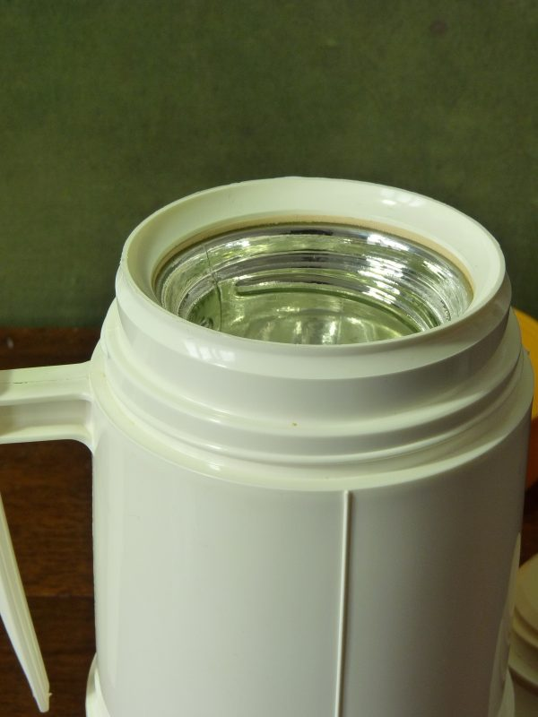 Vintage Mustard and White Thermos Flask