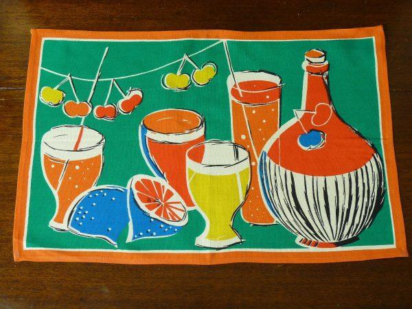 Vintage fruit and drinks teatowel set