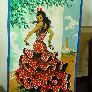 Vintage Spanish flamenco dancer teatowel
