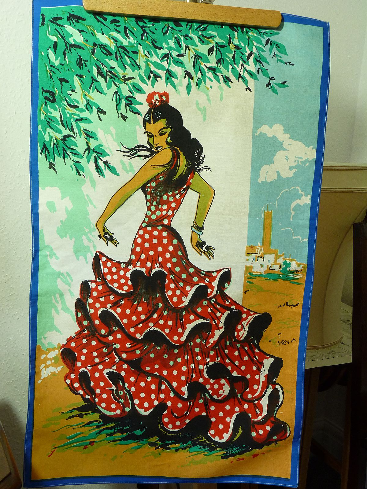 Vintage Spanish flamenco dancer teatowel
