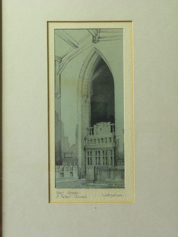 Pencil drawing St. Peter's Church, Nottingham by Alan Sherwin