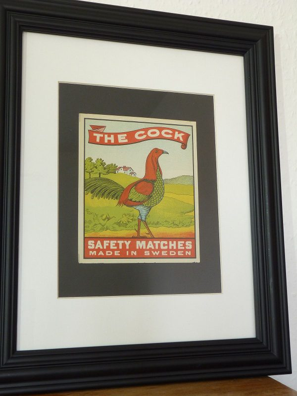 Framed Swedish Matches The Cock Label