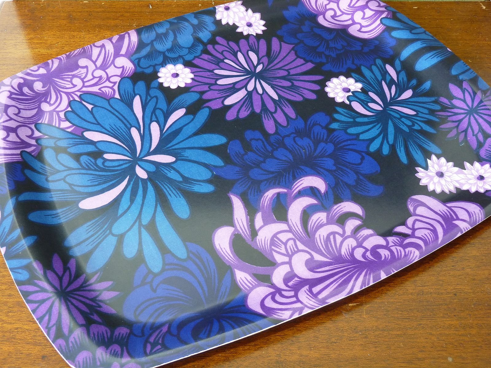 Large Blue and Purple Floral Design Thetford Tray