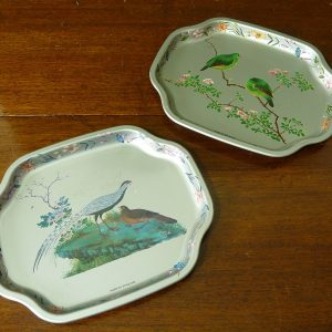 Vintage Silver and Blue Metal Bird Design Trays