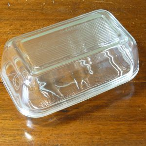 Vintage Arcoroc Cow Relief Glass Butter Dish