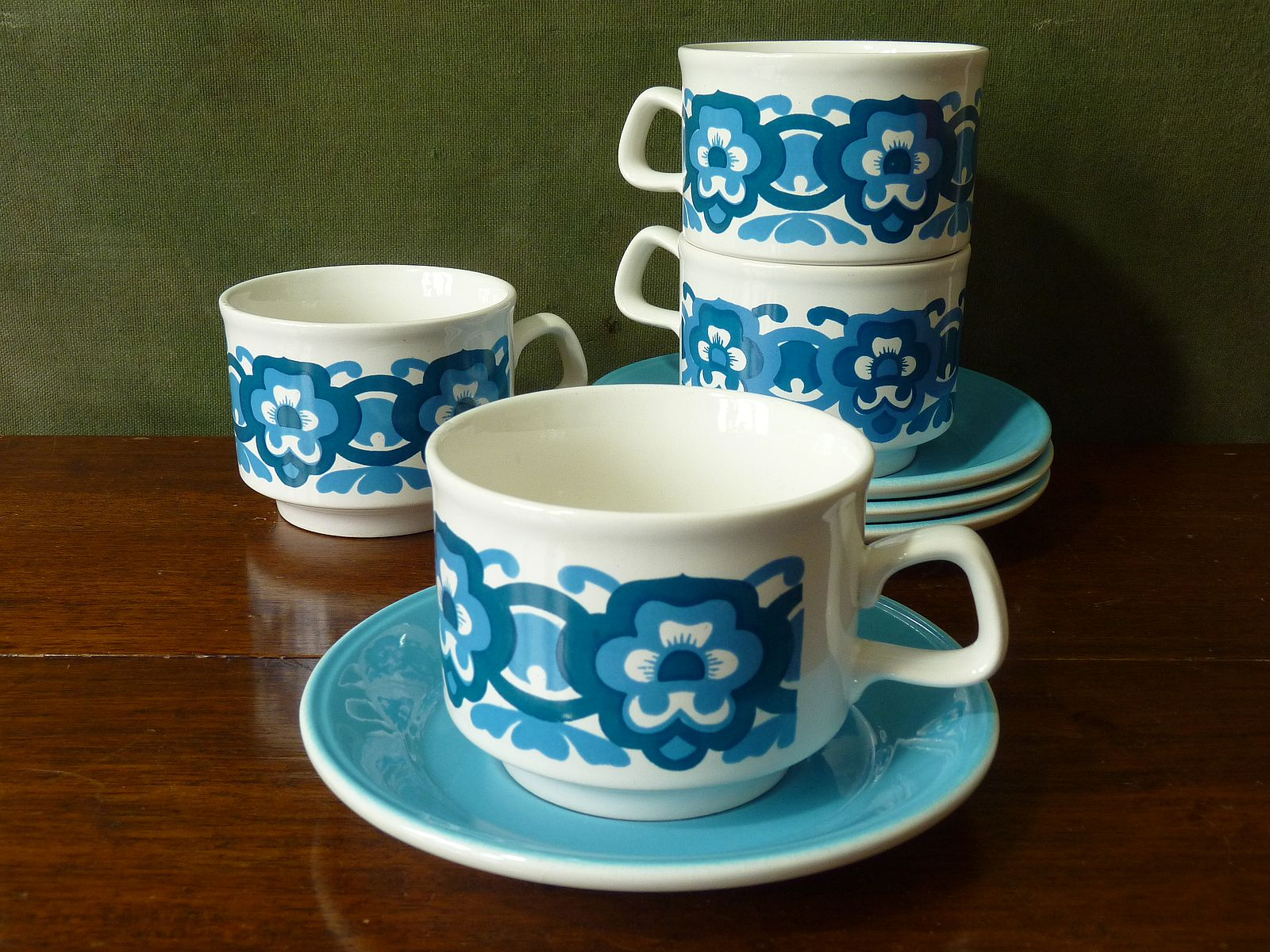 Blue Flower Power Staffordshire Potteries Cups and Saucers