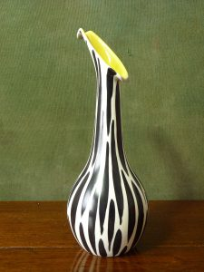 Beswick Zebra Pattern Vase 1455 Shape Yellow Interior