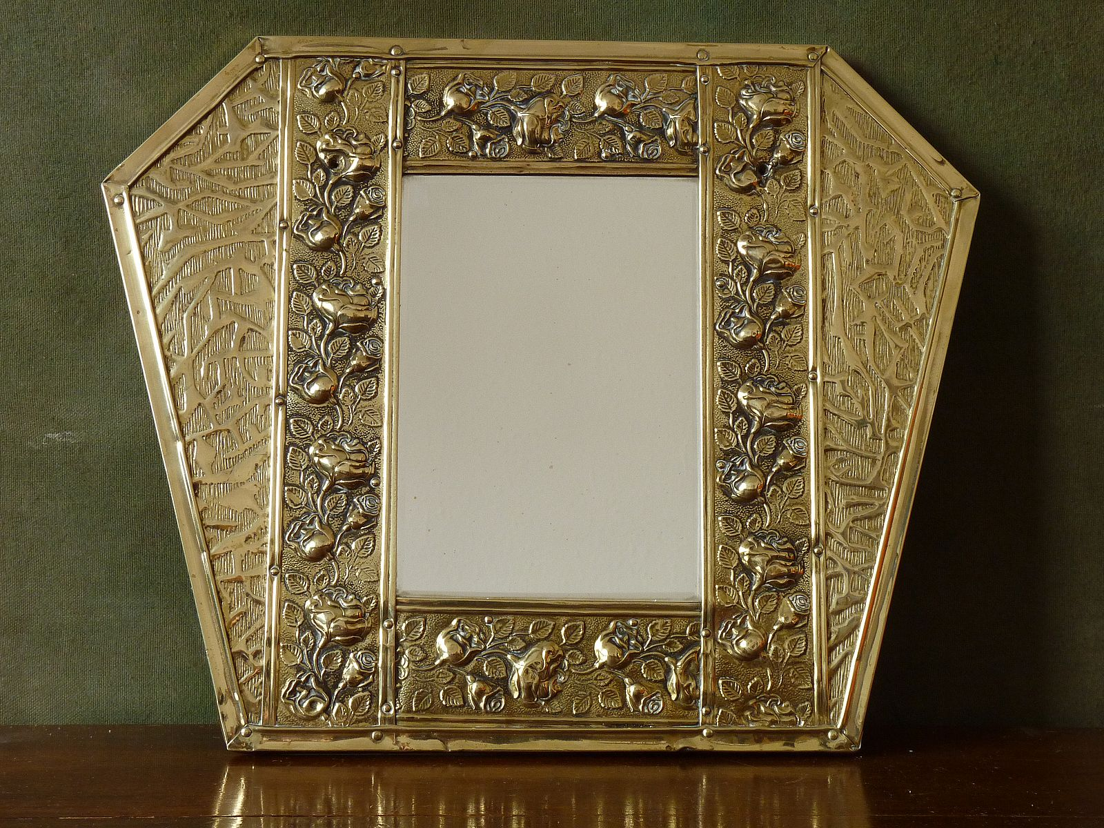 Vintage brass repousse hexagonal mirror