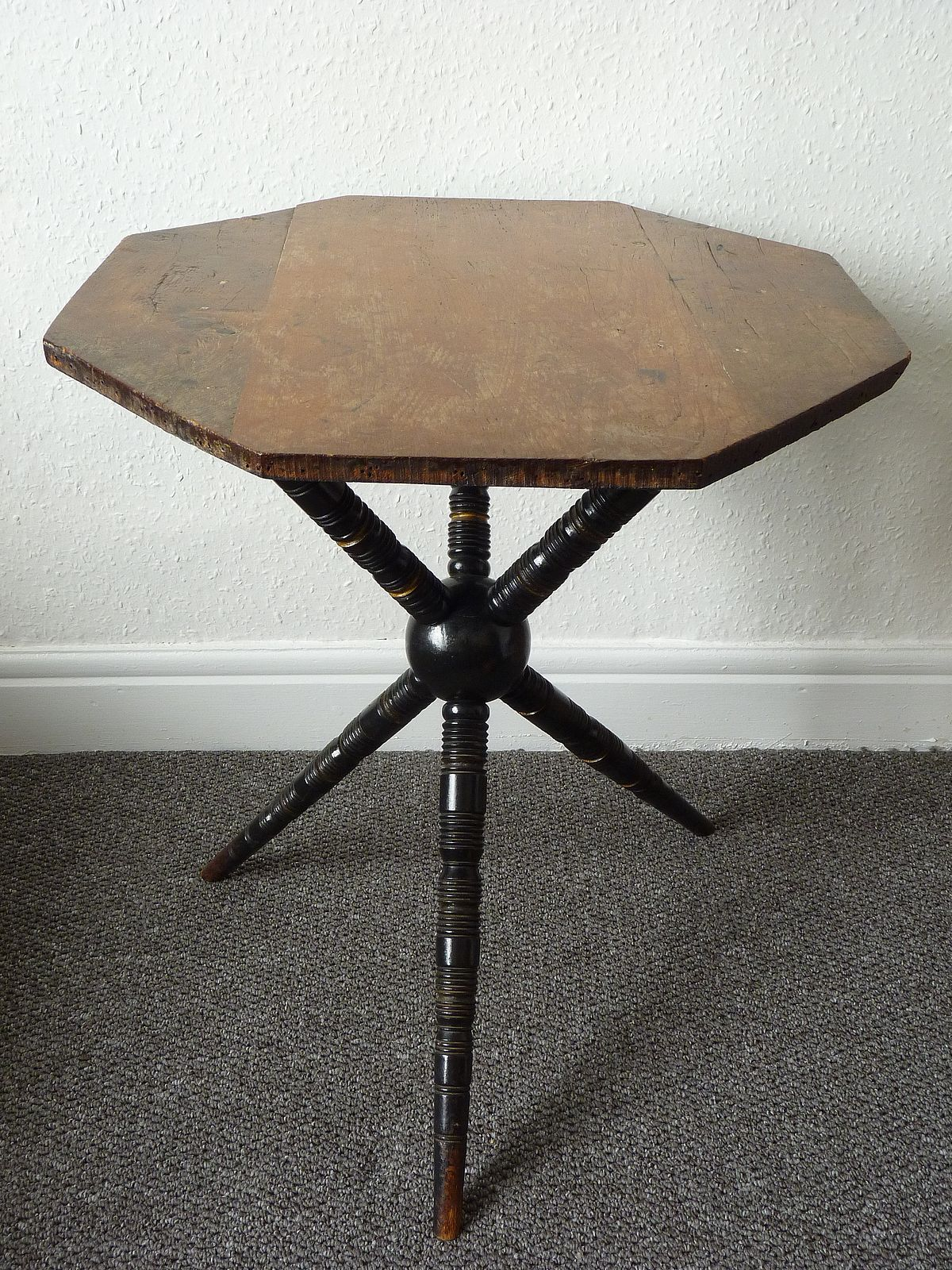 Antique Ebonised and Gilded Bobbin Leg Gypsy Table