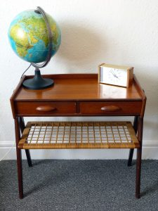 Danish Teak Side Table with drawers and rattan shelf - rare at this size!