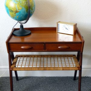 Small Danish Teak and Rattan Side Table with Drawers