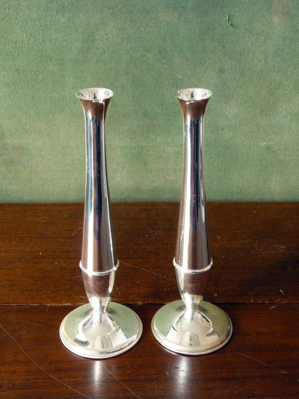 Minimalist Zinc-Silver Plated Posy Vases by HBC