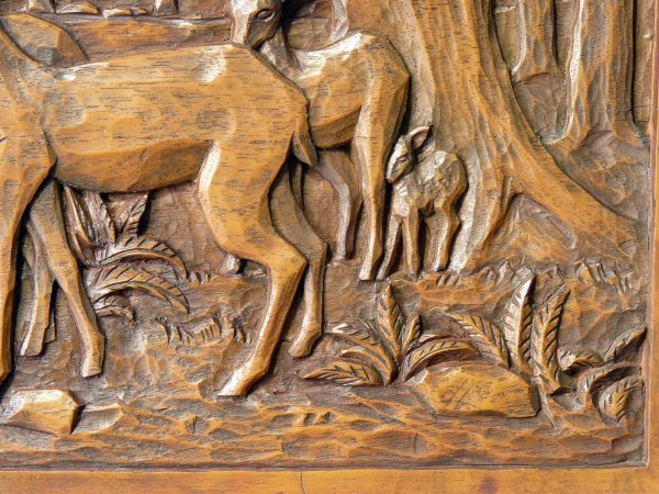 Deep Carved Wood High Relief Deer and Forest Scene Plaque