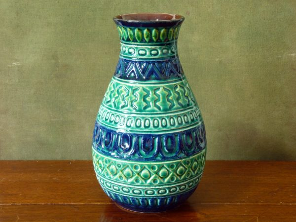 Large Blue and Green Vase by Bay Keramik, West Germany