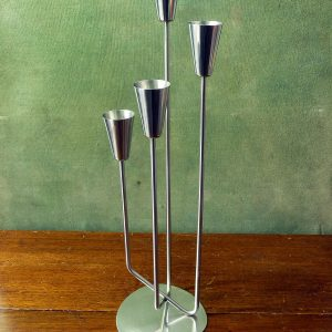 Stainless Steel Danish Modernist Four Candle Holder