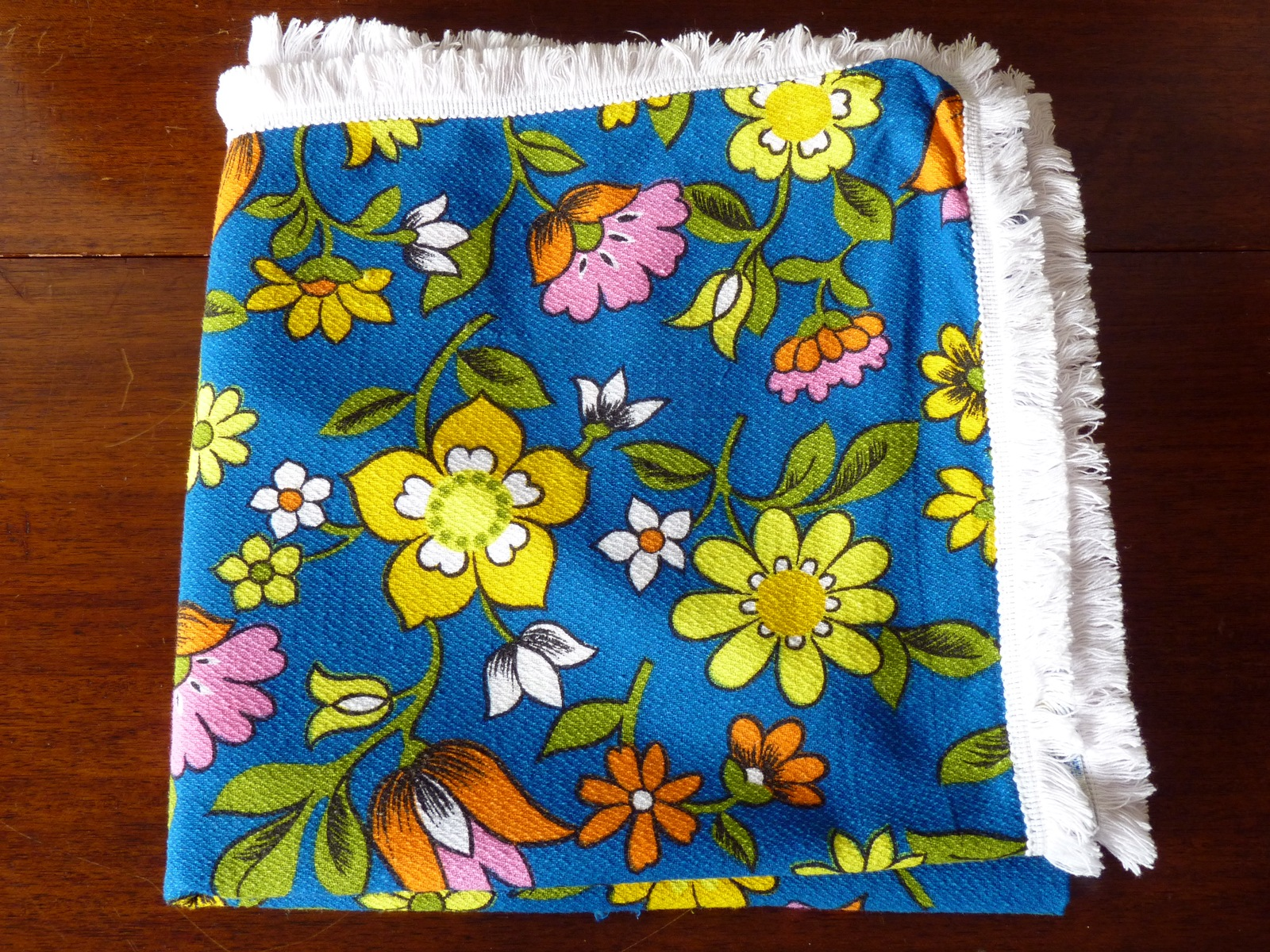 Fab Vintage Towel in Blue with Vivid Coloured Flowers and White Fringeing
