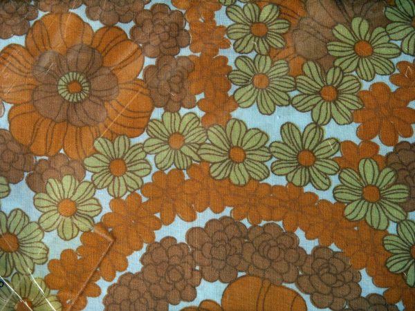 Retro Flower Power Orange Double Bed Sheet