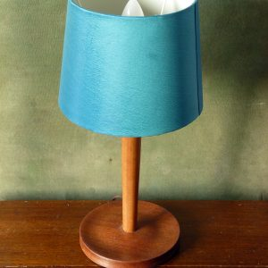 Mid Century Teak Lamp Stand with Teal Shade
