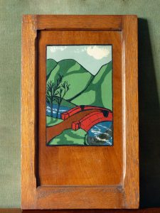 Vintage Naive Painted Oak Panel Picture