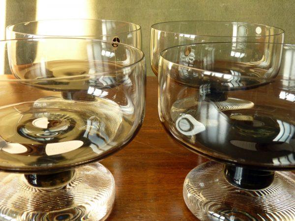 Set of four Black Stemmed Smoked Glass Dessert Bowls by Pukeberg, Sweden