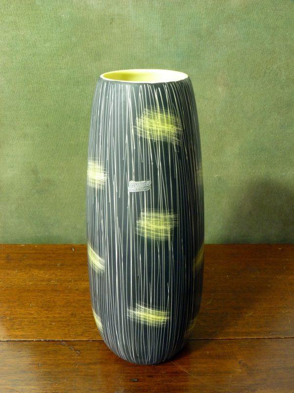 Beswick Lemon Yellow and Black Sgraffito Vase 7653
