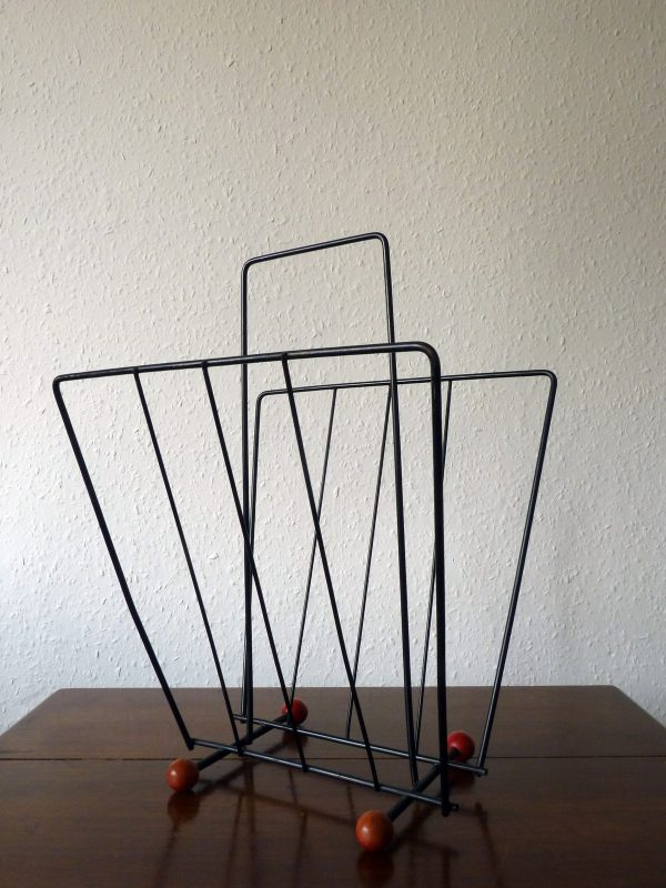Atomic Era Magazine Rack in Black Wire with Red Ball Feet