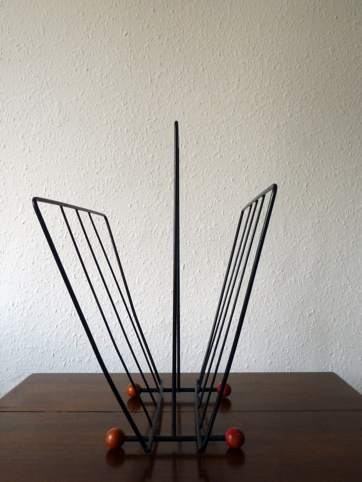 Atomic-Era Magazine Rack in Black Wire with Red Wooden Ball Feet ...