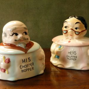 "Vintage Knobler ""Chopper Hopper"" Denture Holders"