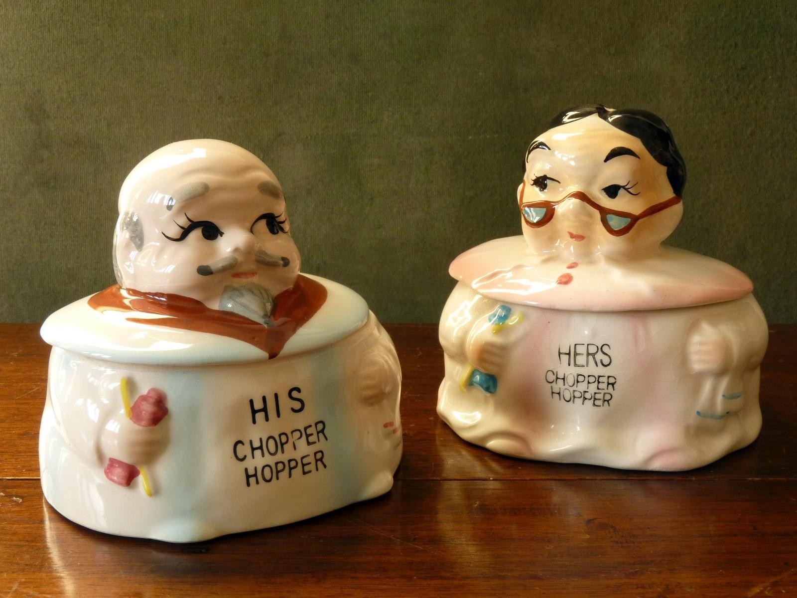 "Vintage Knobler ""Chopper Hopper"" Denture Holders"
