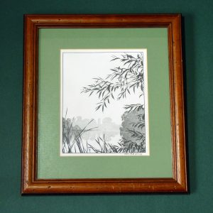 Framed Stipplework of a waterside scene by John Hull Grundy