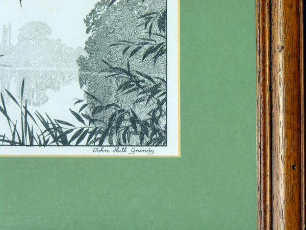 Framed Stipplework of a waterside scene by John Hull Grundy
