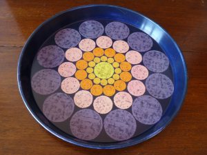 Round Metal Purple Drinks Tray with Concentric Circles Pattern by Worcester Ware