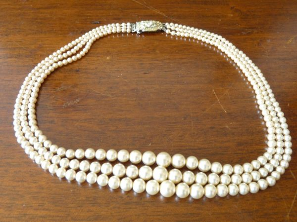 Vintage Three Strand Simulated Pearl Necklace by Lotus