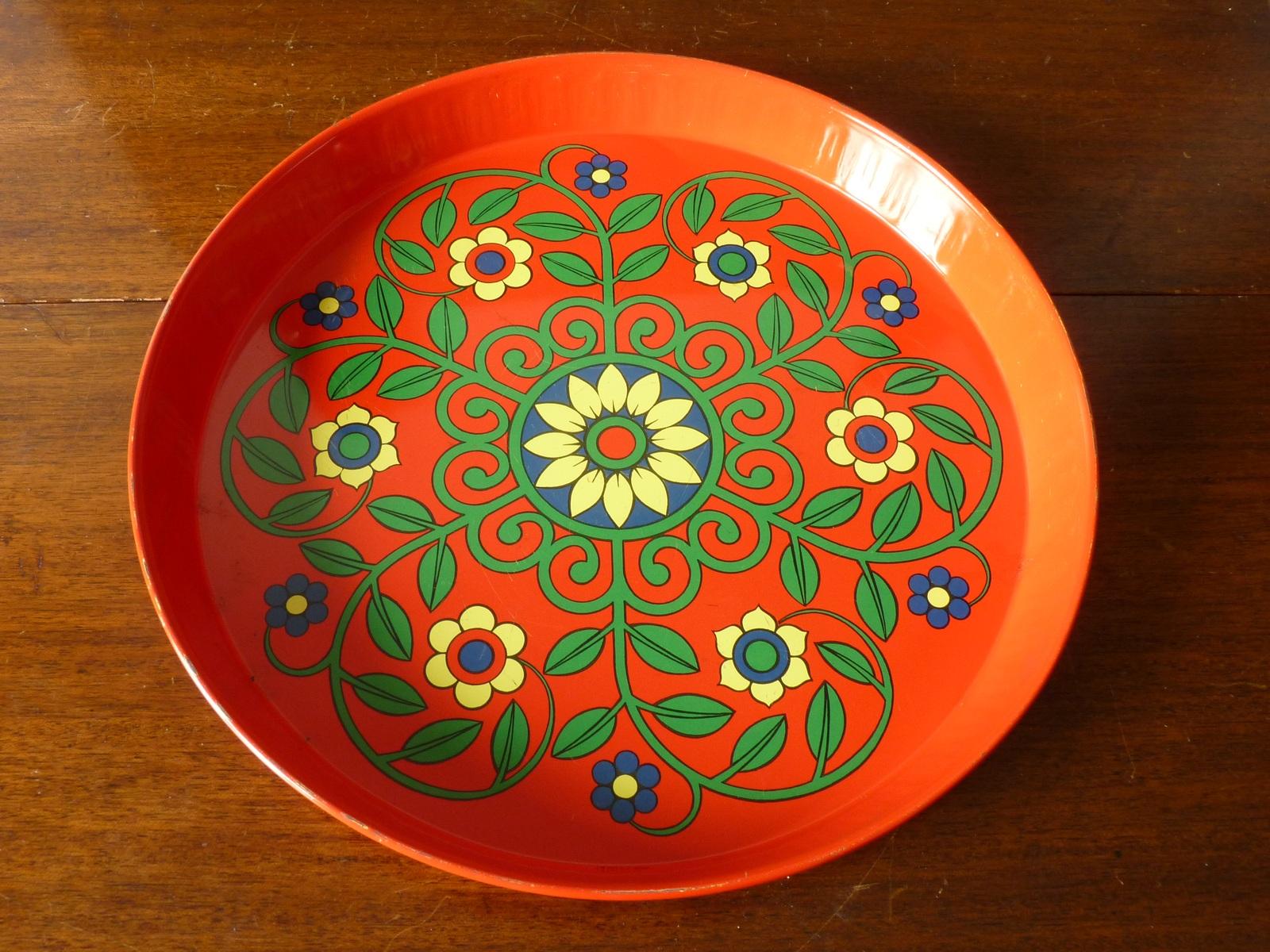 Vintage Floral Metal Drinks Tray (attributed to Pat Albeck)