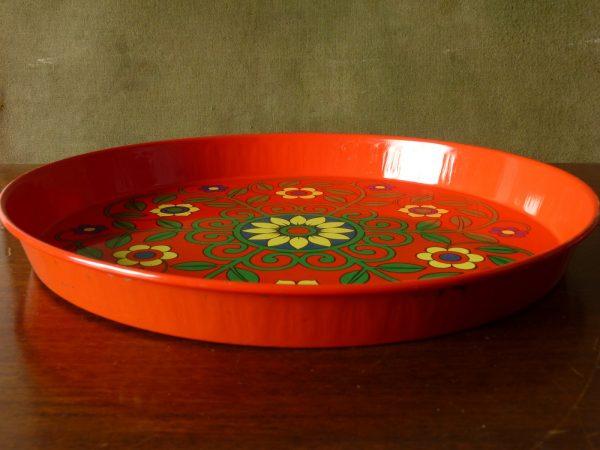 Vintage Floral Metal Drinks Tray (attributed Pat Albeck)
