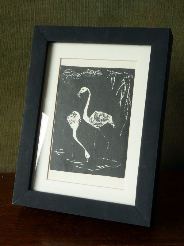 Framed Vintage German Postcard from Original Flamingoes Print by Elfriede Kabisch