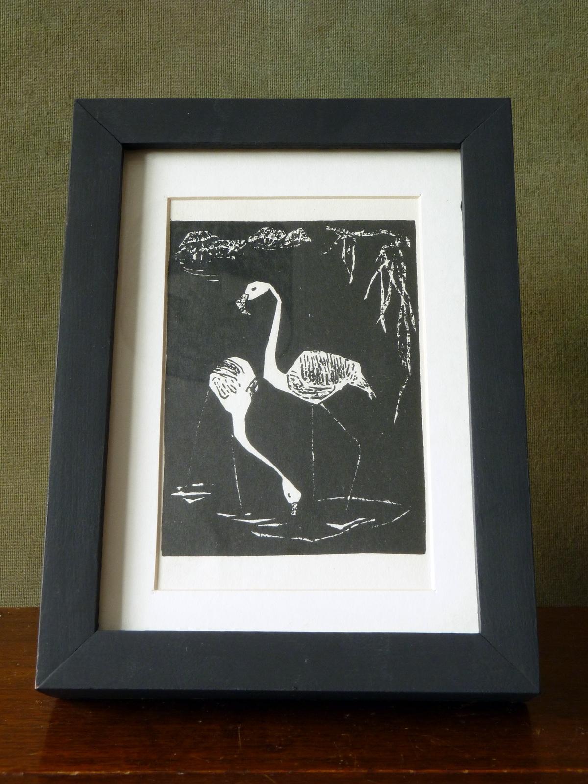 Framed Vintage German Postcard from Original Flamingoes Print by Elfriede Kabisch