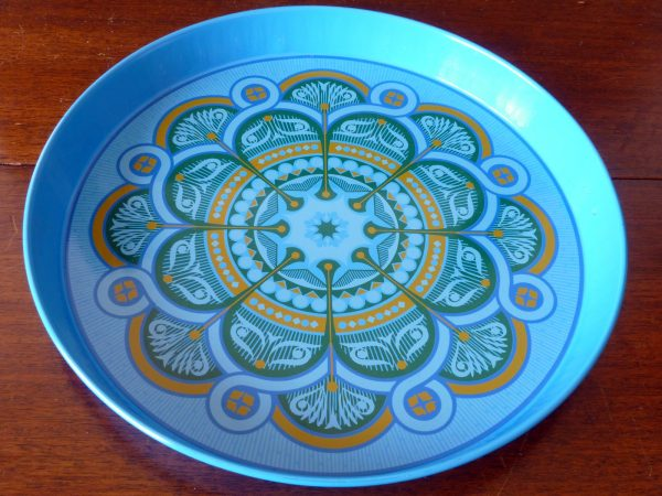 Blue Green and Gold Geometric Tray by Worcester Ware