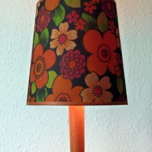 Vintage Orange Trimmed Flowery Lampshade