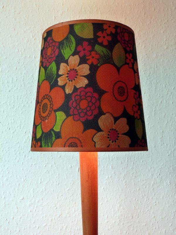 Vintage Orange Trimmed Flowery Lampshade