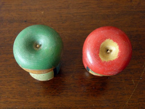 Pair of Vintage Handpainted Kokeshi Dolls with Poseable Apple Heads