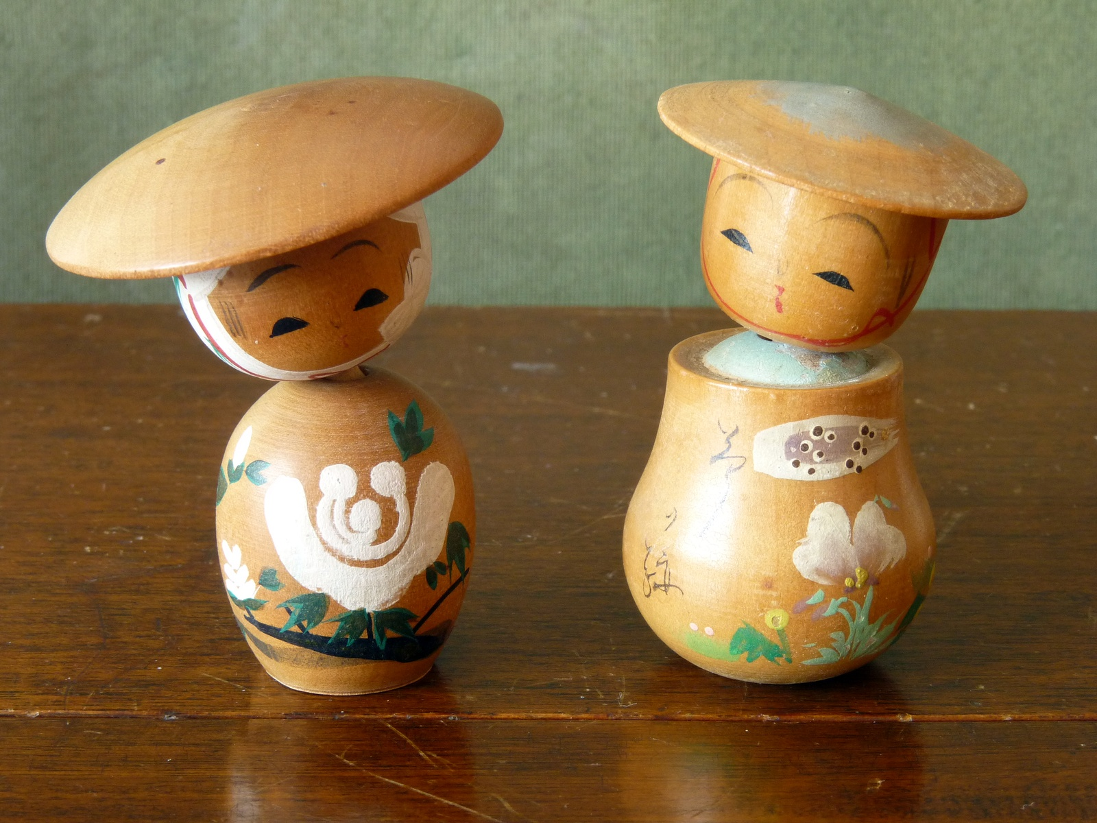 Pair of Vintage Handpainted Kokeshi Dolls with Poseable Heads